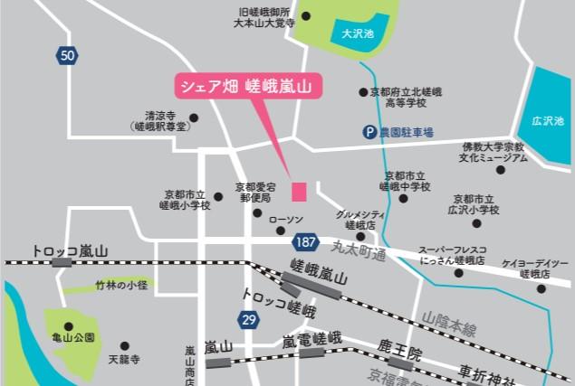 京都のシェア畑の地図